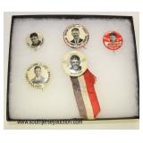 Lot 63: Capt. Chas. A. Lindbergh pins in display case believed to be to period (lot of 5)