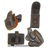Lot 97: 4pc lot: 1 ankle holster, 1 holster and 2 magazine clip holders