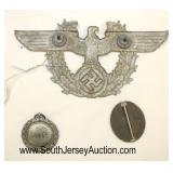 Lot 140: 3pc lot: German Badges including Luftscutze Service Badge, Wound Badge and German Police Ca