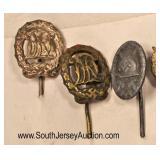 Lot 142: 6pc lot: German Stick Pins including Luftwaffe, 2 Sports, Wound Badge, Luftwaffe Pilot, and