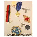 Lot 143: 7pc lot: German Badges, Pins and Medals including 25 Year Long Service Army Medal, German V