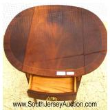 """CLEAN """"Councill Furniture"""" Burl Mahogany Drop Side Pembroke Table with Inlay  Auction Estimate $200"""