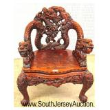 Early Asian Highly Carved and Ornate Dragon Head Hard Wood Arm Chair  Auction Estimate $300-$600 –
