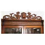 ANTIQUE Continental 2 Piece Oak Griffin Carved with Heavily Carved Feet Display Cabinet with Key an