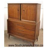 """Mid Century Modern Danish Walnut """"Bassett Furniture"""" Blind Door Fitted Interior High Chest  Auction"""