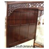 SOLID Mahogany Panel Full Canopy Queen Bed with Decorative Fretwork Sides  Auction Estimate $100-$2