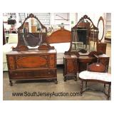 Depression Walnut 2 Tone Low Chest with Mirror and Vanity with Mirror and Bench  Auction Estimate $