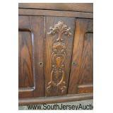 ANTIQUE Oak 3 Drawer 2 Door Server in Original Finish  Auction Estimate $100-$300 – Located Inside