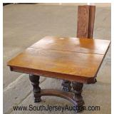 ANTIQUE Oak Square Breakfast Table with 3 Leaves and Nice Carved Legs  Auction Estimate $200-$400 –