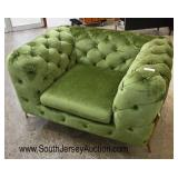 NEW Green Button Tufted Modern Design Decorator Club Chair  Auction Estimate $200-$400 – Located In