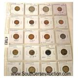 Sheet of Foreign Coins  Auction Estimate $5-$20 – Located Glassware