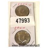 2 Kennedy Silver Half Dollars  Auction Estimate $10-$30 – Located Glassware