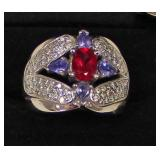 Victorian 14 Karat White Gold Diamond, Amethyst, and Ruby Cocktail Ring  Auction Estimate $500-$100