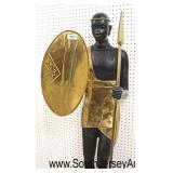 Almost Life Size SOLID Bronze African Warrior Statue  Auction Estimate $500-$1000 – Located Inside