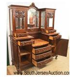 ANTIQUE French Oak 2 Piece Marble Top Curio Buffet with Key  Auction Estimate $400-$800 – Located I