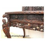 Late 19th Century Early 20th Century Highly Carved and Ornate Asian Hardwood Desk with Fancy Top  A