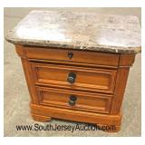 """Marble Top """"Cindy Crawford Home"""" 3 Drawer Mahogany Contemporary Night Stand  Auction Estimate $50-$"""