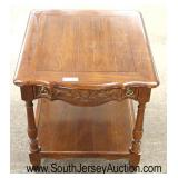 """Oak Country French """"Century Furniture"""" Carved One Drawer 2 Tier Lamp Table  Auction Estimate $100-$"""
