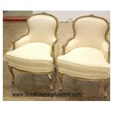 PAIR of Upholstered Country French Carved Down Cushion Decorator Chairs  Auction Estimate $200-$400