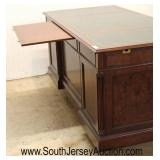 """NICE Burl Mahogany """"Councill Furniture"""" Leather Top Panel Sides 9 Drawer Executor Desk with Pull Ou"""