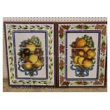 PAIR of Fruit Tile Artwork Wall Hangings  Auction Estimate $100-$300 – Located Inside