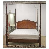 """AWESOME QUALITY Burl Mahogany Carved 4 Poster King Bed with Mattress's from """"Bloomingdales""""  Auctio"""