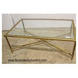 QUALITY Modern Design Glass and Brass Decorator Coffee Table  Auction Estimate $100-$300 – Located