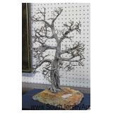Artistic Sculpture Wired Tree on Stone by Wayne Trinklein with Paperwork of Artist  Auction Estimat