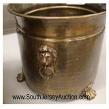 QUALITY Heavy Copper Tri Footed Planters with Paw Feet and Lion Head Pulls  Auction Estimate $100-$