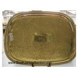 QUALITY Heavy Brass Filigree Serving Tray or Center Tray  Auction Estimate $100-$300 – Located Glas