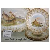 "NICE 19th Century 7 Piece ""Tressemann and Vogt Limoges"" France Porcelain Game Set  Auction Estimate"
