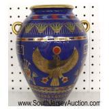 "Asian Style ""The Vase of the Golden Falcon by Roushdy Iskander Garas"" Cobalt Blue 24 Karat Gold Han"