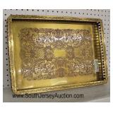 QUALITY Heavy Brass Filigree Serving Tray or Center Tray Lacquer Made in India  Auction Estimate $1