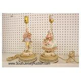 PAIR of French Style Porcelain Figural Boudoir Lamps  Auction Estimate $50-$100 – Located Glassware