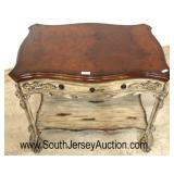 "BEAUTIFUL ""Maitland Smith Furniture"" Painted Frame Distressed Natural Finish Top One Drawer Server"