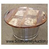 Galvanized Patio Party Ice Bucket with Wood Top Table  Auction Estimate $50-$100 – Located Glasswar
