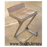 "Industrial Style ""Z"" Frame Metal and Wood Stool  Auction Estimate $50-$100 – Located Inside"
