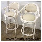 PAIR of Painted Frame Tack Uphosltered French Style Swivel Bar Stools  Auction Estimate $100-$200 –