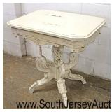 Paint Distressed Victorian Style Carved Parlor Table  Auction Estimate $100-$200 – Located Inside