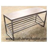 Industrial Style Wood and Metal Shoe Rack Bench  Auction Estimate $50-$100 – Located Inside