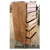 Modern Design Style SOLID Mahogany Wood 5 Drawer Lingerie Chest with Brass Bow Tie Decorations and