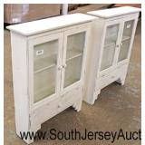 PAIR of Painted Shabby Chic Style White 2 Door 1 Drawer Wall Hanging Cabinets  Auction Estimate $10