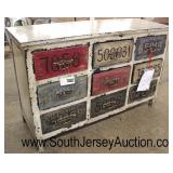 COOL 9 Drawer Painted License Plate Decorative Low Chest  Auction Estimate $300-$600 – Located Insi