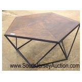 Industrial Style Octagon Metal Base Wood Top Coffee Table  Auction Estimate $100-$200 – Located Ins
