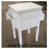 Painted White 2 Drawer Stand with Towel Bars  Auction Estimate $100-$200 – Located Inside