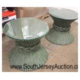 "PAIR of Modern Design ""McGuier San Francisco"" Decorative Pedestal Tables with Custom Glass Tops  Au"