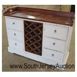 Distressed White 6 Drawer Buffet with Natural Top and Wine Holder  Auction Estimate $200-$400 – Loc