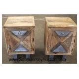 "PAIR of Industrial Style 1 Drawer 1 Door Night Stands with Metal and Wood ""X"" Decorative Door  Auct"