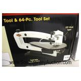 """Shop Fox"" 18"" Variable Speed Scroll Saw with Flexible Shaft Rotary Tool and 64 Piece Tool Set with"