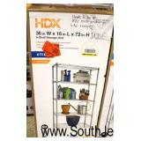 "HDX 36""x72"" 5 Shelf Storage Unit  Auction Estimate $50-$100 – Located Inside"